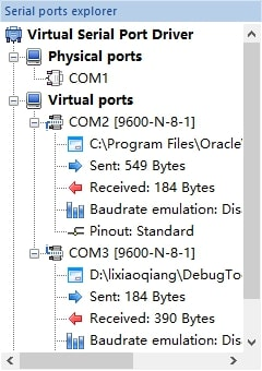 Virtual serial port activity status