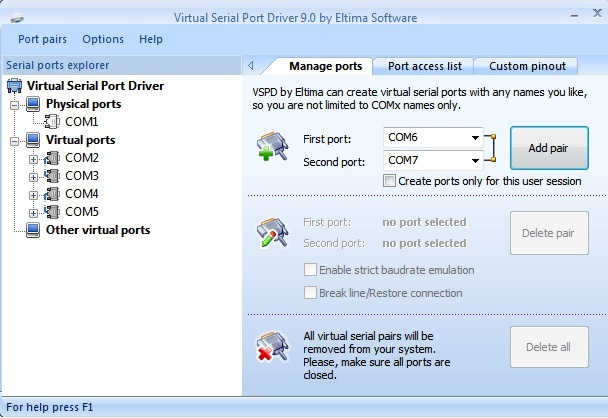 Virtual Serial Port Software-Schnittstelle