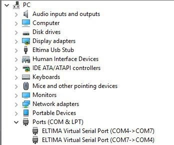 Virtual COM ports and connections between them created by VSPD