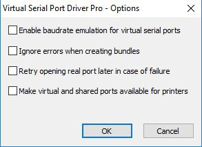 Virtual Serial Port Driver PRO Options