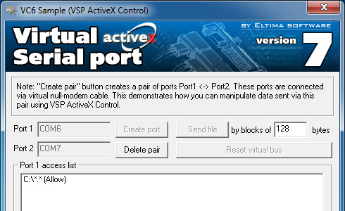 Click to view Eltima Virtual Serial Port AX Control 7.1 screenshot